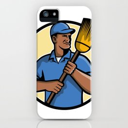 African American Street Sweeper or Cleaner Mascot iPhone Case