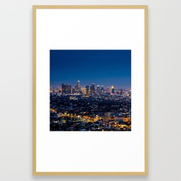 Los Angeles, California, I love LA Downtown Skyline, Golden lights, USA Sunset Blvd, Palms, Cali Map Framed Art Print