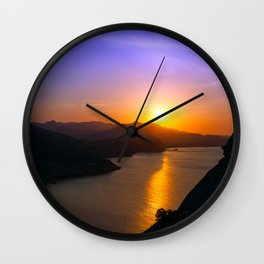 Dawn at Black sea. Morning seascape with mountains. Wall Clock