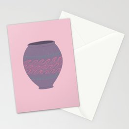 Wave Pattern Greek Vase in Pink and Purple Stationery Cards