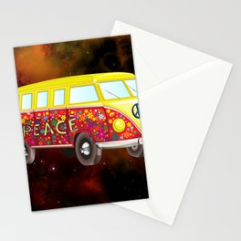 Hippie Van In Space Stationery Cards