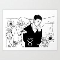 taurus Art Prints featuring Taurus by Cassandra Jean