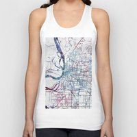 memphis Tank Tops featuring Memphis map by MapMapMaps.Watercolors