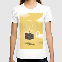 Isolated Chocolate cherry cake with parachute on yellow sky background T-shirt