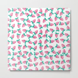 Modern hand painted pink watercolor strawberries Metal Print