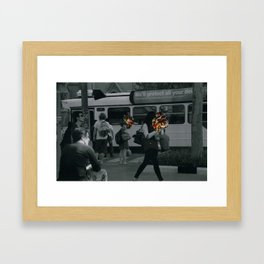 Street people collage series Framed Art Print