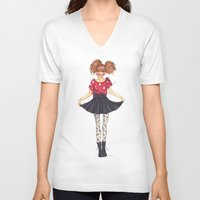 polka dots V-neck T-shirts featuring Polka Dots by ValeriaZ