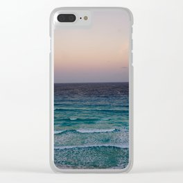Beach and sky at sunset time Clear iPhone Case