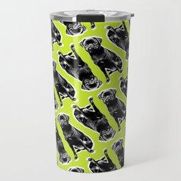 PUG SUKI - SITTING PATTERN - YELLOW Travel Mug