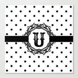 Black Monogram: Letter U Canvas Print