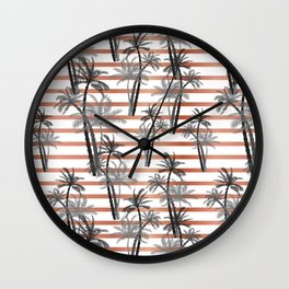 Tropical black gray rose gold stripes palm tree floral Wall Clock
