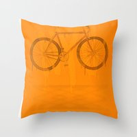 bike Throw Pillows featuring BIKE by TMSYO