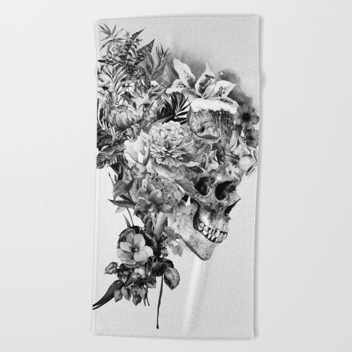 Skull VI BW Beach Towel