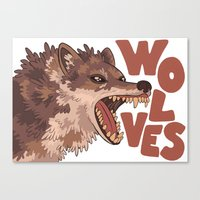 wolves Canvas Prints featuring Wolves by Lindsey Lea