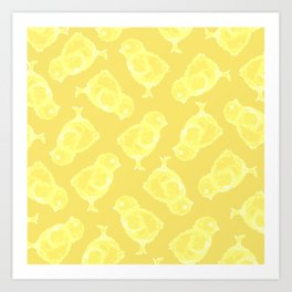 Yellow Easter chicken pattern Art Print