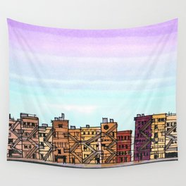 New York Purple Sky Wall Tapestry