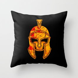Spartan Helmet - Marked By Battle - Warrior  Throw Pillow