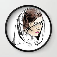 princess leia Wall Clocks featuring Leia by Hey!Roger