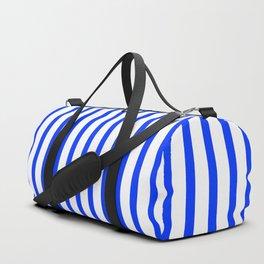 Blue & White Vertical Stripes Duffle Bag