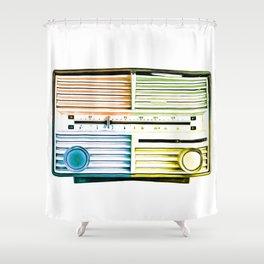 Vintage Radio Pop Art Shower Curtain