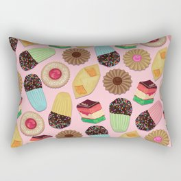 Assorted Cookies on Pink Background Rectangular Pillow