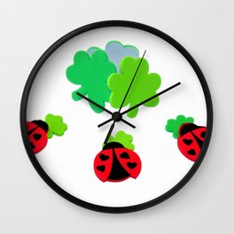Lucky Ladybugs Wall Clock