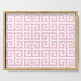 Large Light Pink and White Greek Key Pattern Serving Tray