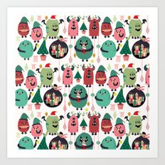 Monster xmas Art Print