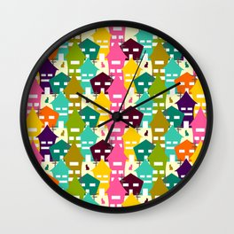 Colorful houses and cats Wall Clock