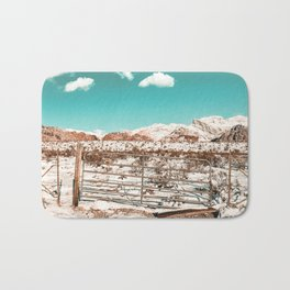 Vintage Desert Gate // Snow Field and Mountain Range Landscape Nature Photograph Red Rock Canyon Bath Mat