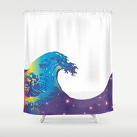 hokusai Shower Curtains featuring Hokusai Universe by FACTORIE