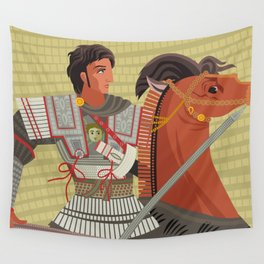 alexander the great mosaic riding a horse Wall Tapestry