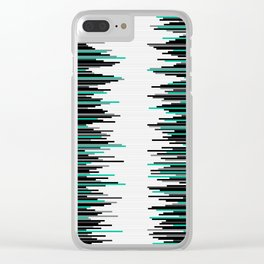 Frequency Line, Vertical Staggered Black, Gray & Teal Line Digital Illustration Clear iPhone Case