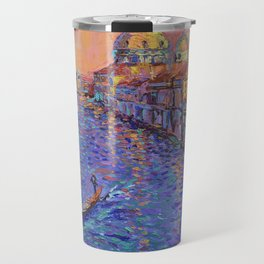 Sunset Over The Grand Canal In Venice -palette knife urban city landscape by Adriana Dziuba Travel Mug