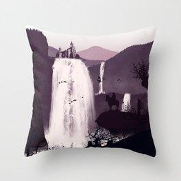 Waterfall Temple Flat Illustration Throw Pillow