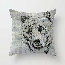 Gray Bear Throw Pillow