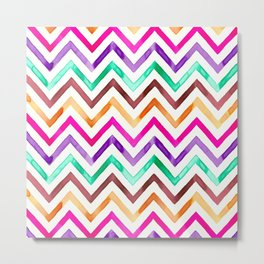 Chevron Multicolor Watercolor Metal Print