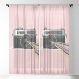Experience the power of Yashica Electro 35 in pink Sheer Curtain