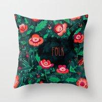 folk Throw Pillows featuring Folk by Plantus Marina