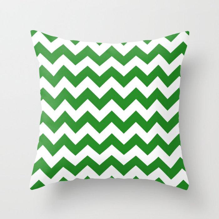 Chevron (Forest Green/White) Throw Pillow