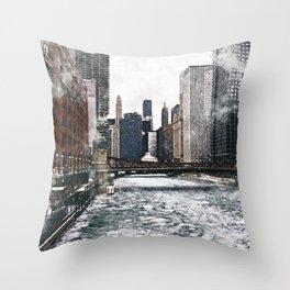 Chicago River, Illinois Throw Pillow