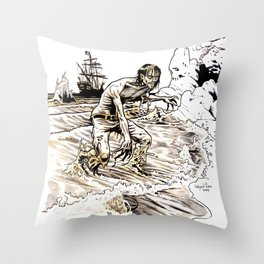 Out of the Sea of Red Throw Pillow