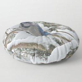 Snowy Woods Blue Jay Floor Pillow