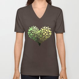Green and yellow heart Unisex V-Neck