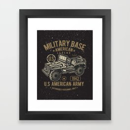 Vintage American Jeep Army Framed Art Print