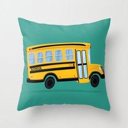 Cute School Bus Throw Pillow