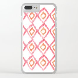 Fiery Coral - aztec watercolour pattern Clear iPhone Case