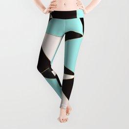 Elegant pink teal black abstract geometrical Leggings