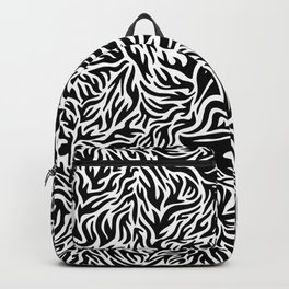 Black And White Psychedelic Flames Backpack