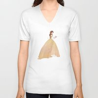 belle V-neck T-shirts featuring Belle by lolia
